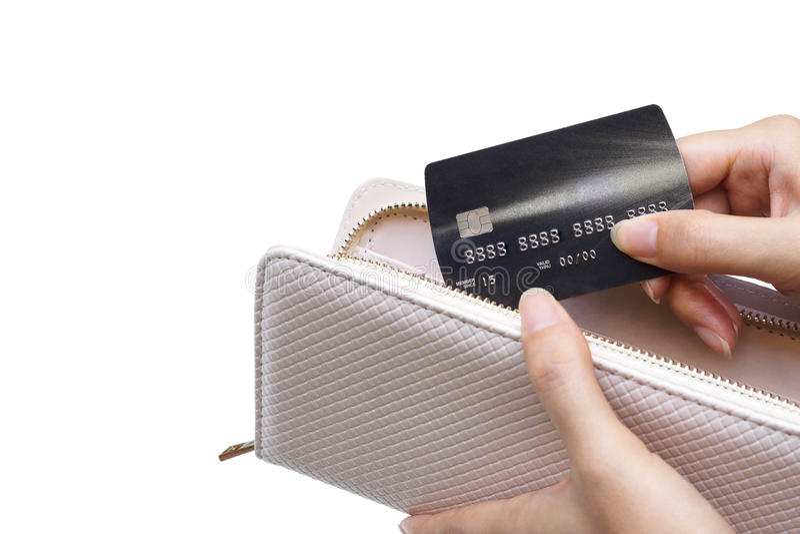 Uma bolsa e um cartão de crédito imagens de stock