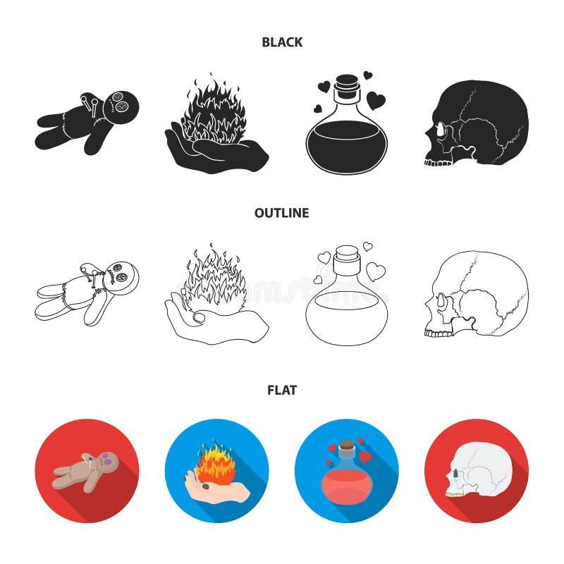Uma boneca do vudu, um fogo mágico, uma poção de amor, um crânio Ícones ajustados da coleção da mágica preto e branco em preto, l ilustração royalty free