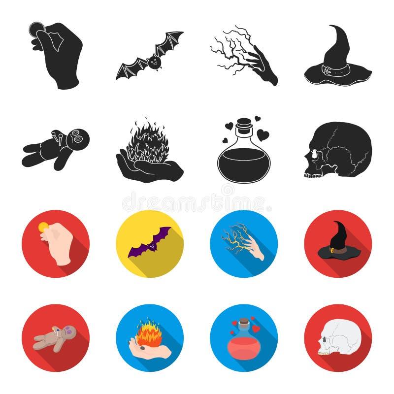 Uma boneca do vudu, um fogo mágico, uma poção de amor, um crânio Ícones ajustados da coleção da mágica preto e branco no preto, e ilustração royalty free