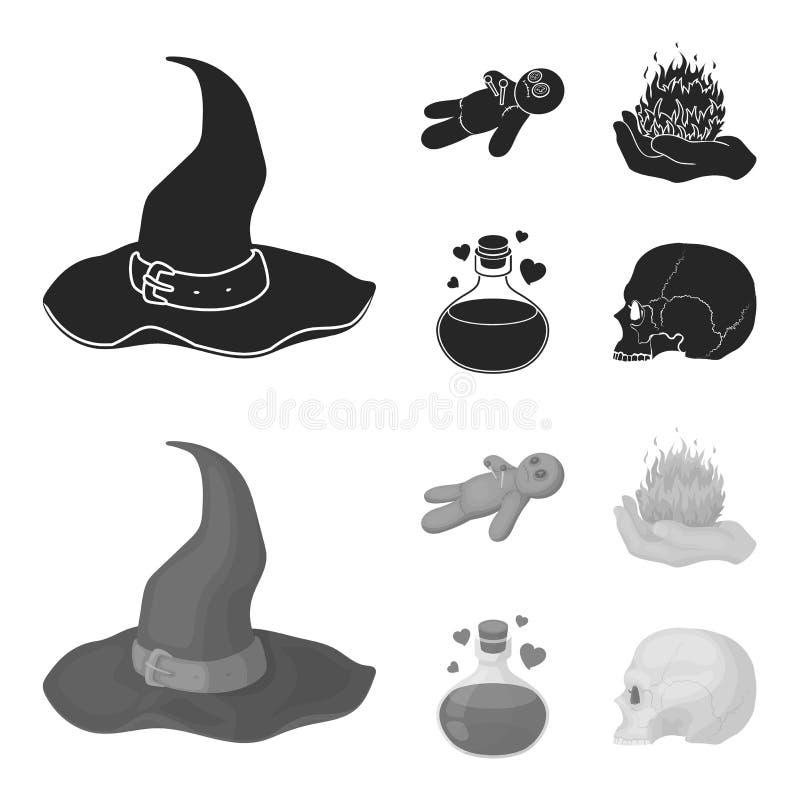 Uma boneca do vudu, um fogo mágico, uma poção de amor, um crânio Ícones ajustados da coleção da mágica preto e branco no preto, m ilustração do vetor