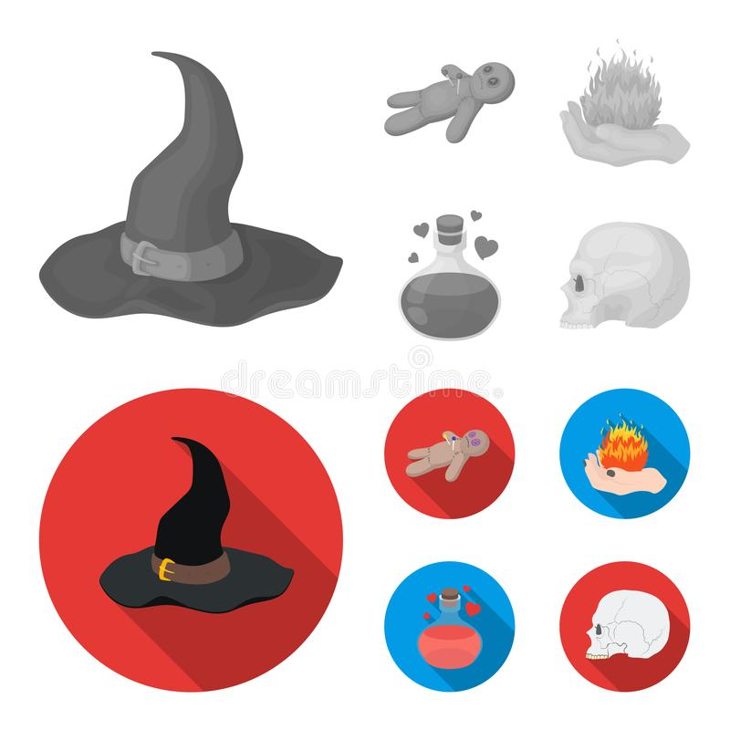Uma boneca do vudu, um fogo mágico, uma poção de amor, um crânio Ícones ajustados da coleção da mágica preto e branco no monochro ilustração do vetor