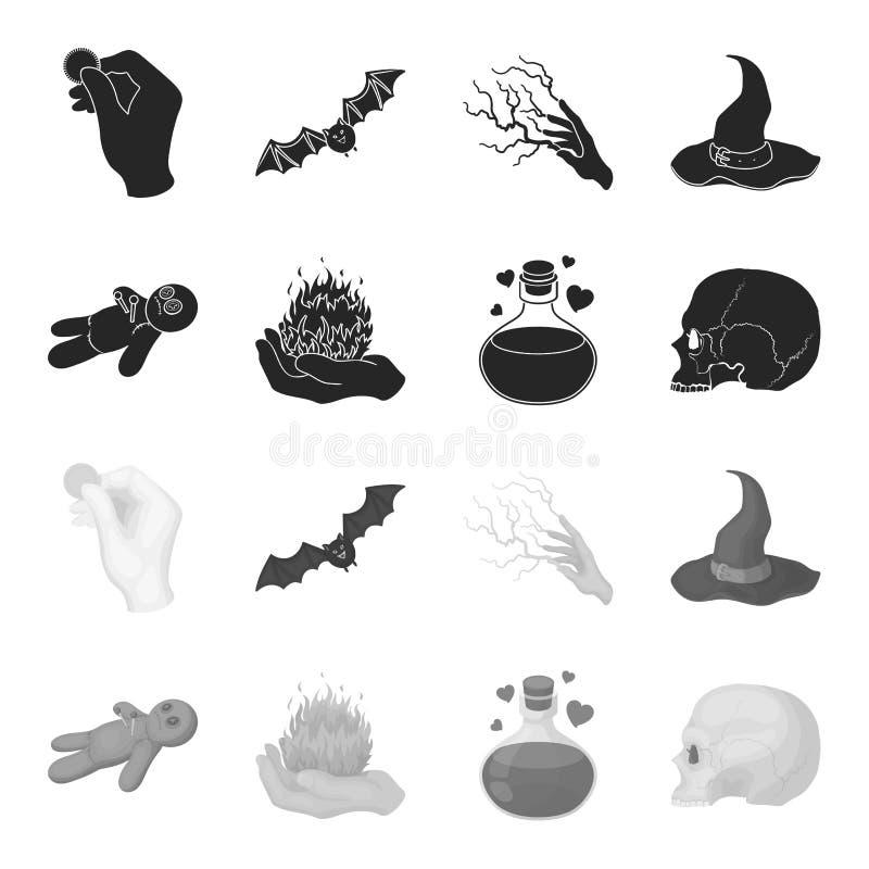 Uma boneca do vudu, um fogo mágico, uma poção de amor, um crânio Ícones ajustados da coleção da mágica preto e branco no preto, m ilustração stock