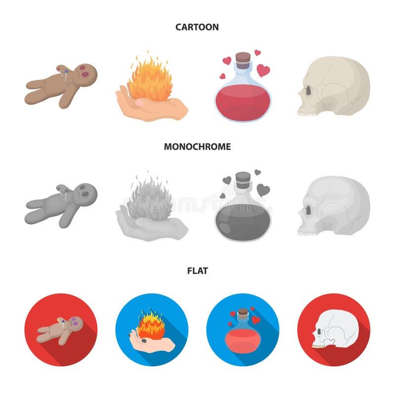 Uma boneca do vudu, um fogo mágico, uma poção de amor, um crânio Ícones ajustados da coleção da mágica preto e branco nos desenho ilustração royalty free