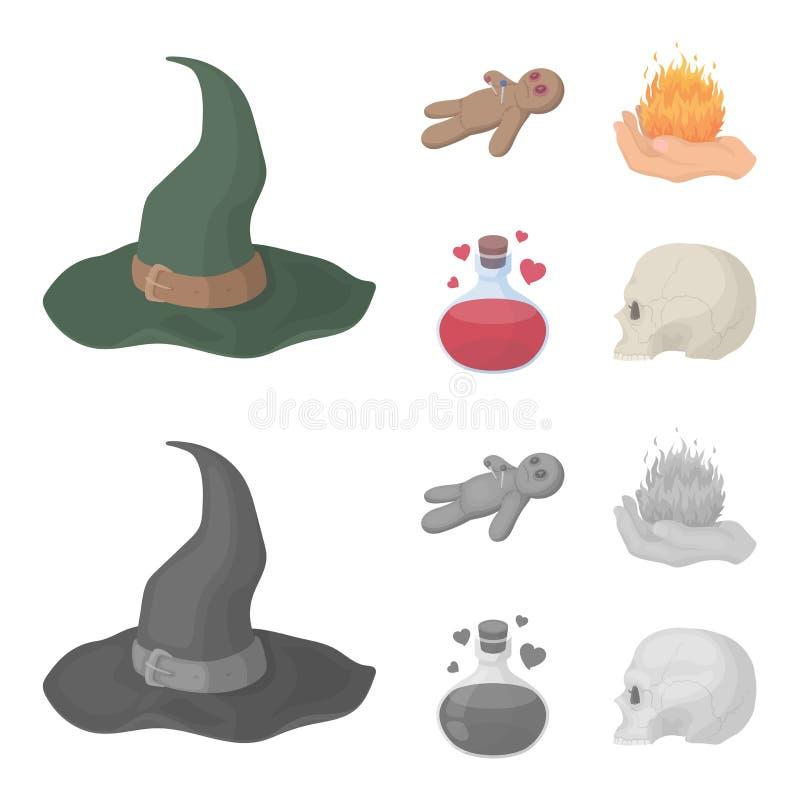 Uma boneca do vudu, um fogo mágico, uma poção de amor, um crânio Ícones ajustados da coleção da mágica preto e branco nos desenho ilustração stock