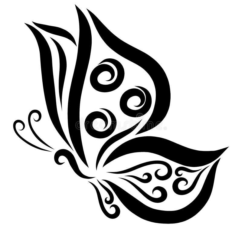 Uma borboleta, pintada por linhas e por ondas pretas ilustração stock