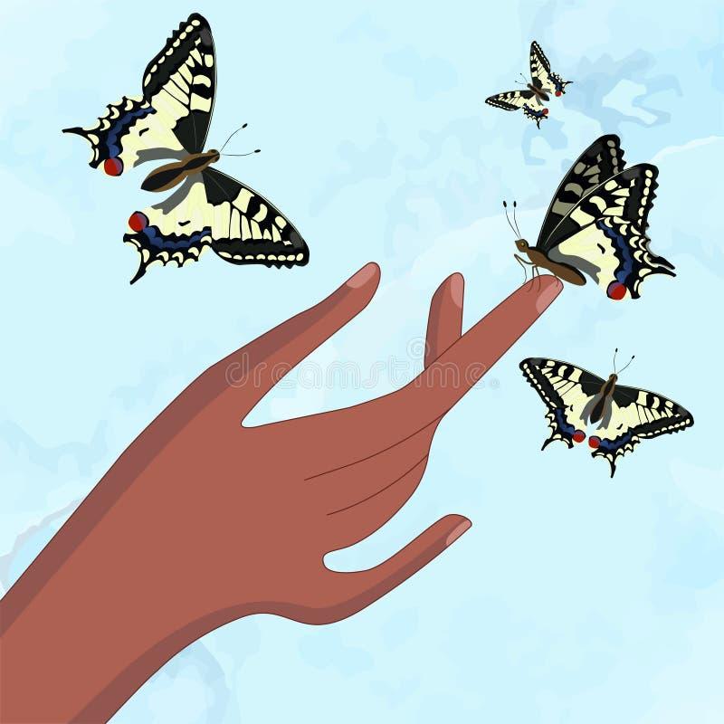 Uma borboleta senta-se em um dedo Swallowtail amarelo Ilustra??o do vetor ilustração royalty free