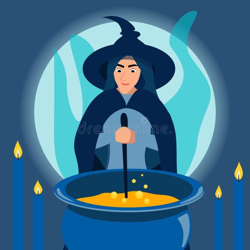 Uma bruxa amável da mulher fabrica cerveja uma poção em um caldeirão gothic No estilo minimalista Vetor liso dos desenhos animado ilustração do vetor