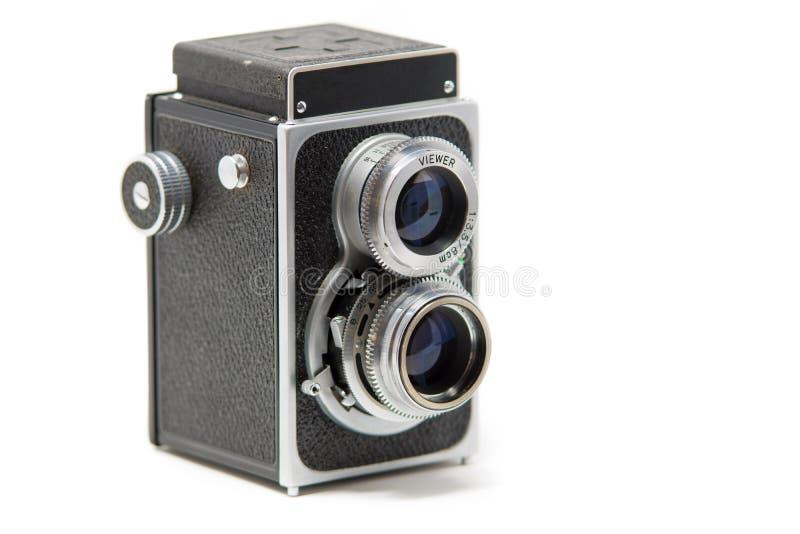 Uma câmera de reflexo gêmea clássica da lente imagens de stock