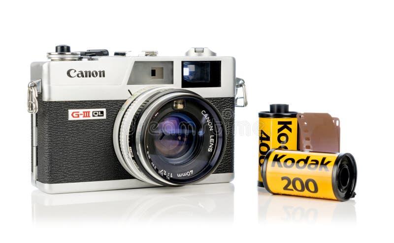 Uma câmera do rangefinder de Canon Canonet 17 G-III QL imagens de stock