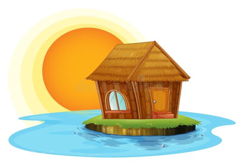 Uma cabana do nipat em uma ilha ilustração do vetor
