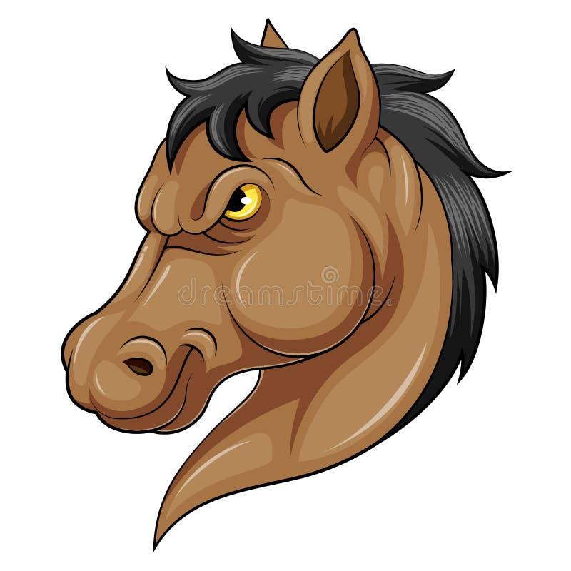 Uma cabeça da mascote da caixa de um cavalo ilustração stock