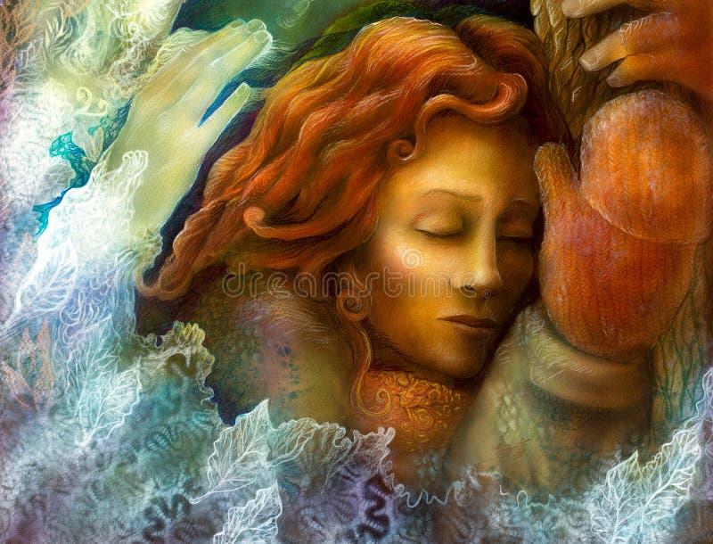 Uma cabeça de uma mulher feericamente de sonho com glowes vermelhos do cabelo e do inverno ilustração do vetor