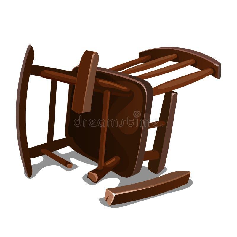 Uma cadeira de balanço de madeira velha quebrada isolada no fundo branco Ilustração do close-up dos desenhos animados do vetor ilustração stock