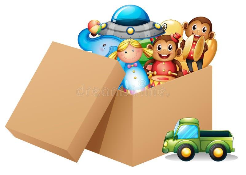 Uma caixa completamente de brinquedos diferentes ilustração do vetor