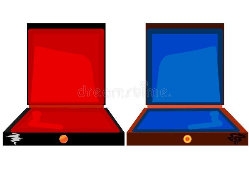 Uma caixa de charuto ? mostrada, vazio Com a tampa aberta, na tampa da linha para o texto Na parte inferior do tamp?o ? um s?mbol ilustração royalty free