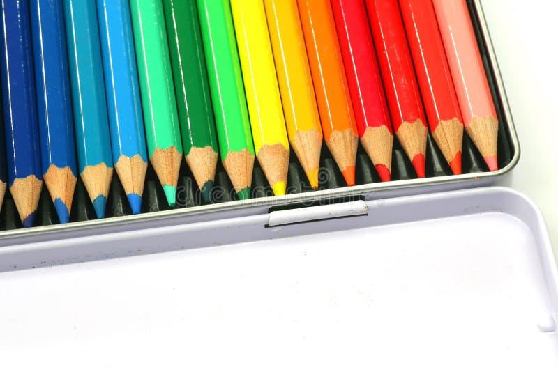 Uma caixa de lápis da coloração fotografia de stock