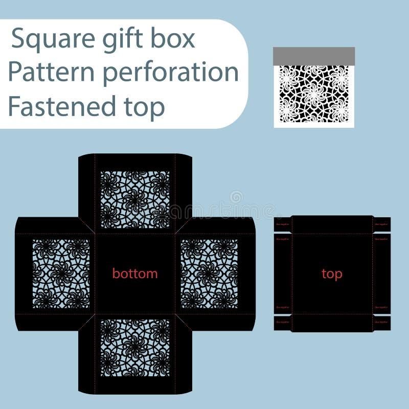 Uma caixa de papel quadrada, caixa é prendida com uma tampa, molde cortado, papel de embrulho, molde de corte do laser, os lados  ilustração do vetor
