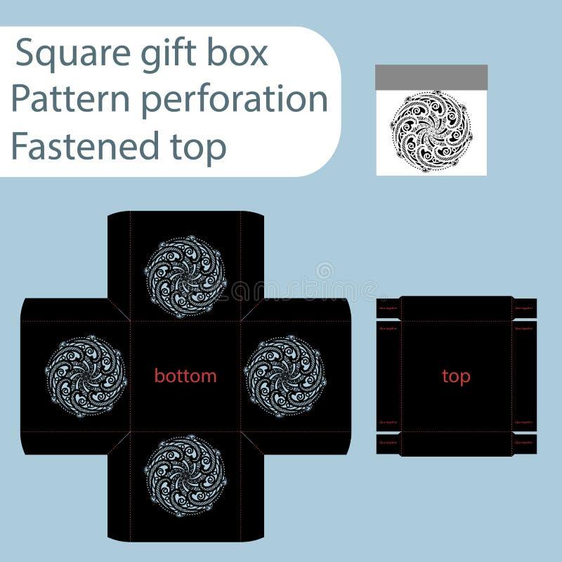 Uma caixa de papel quadrada, caixa é prendida com uma tampa, molde cortado, papel de embrulho, molde de corte do laser, os lados  ilustração stock