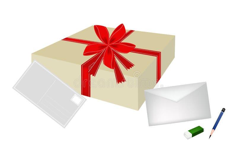 Uma caixa de presente bonita com envelope e cartão ilustração royalty free