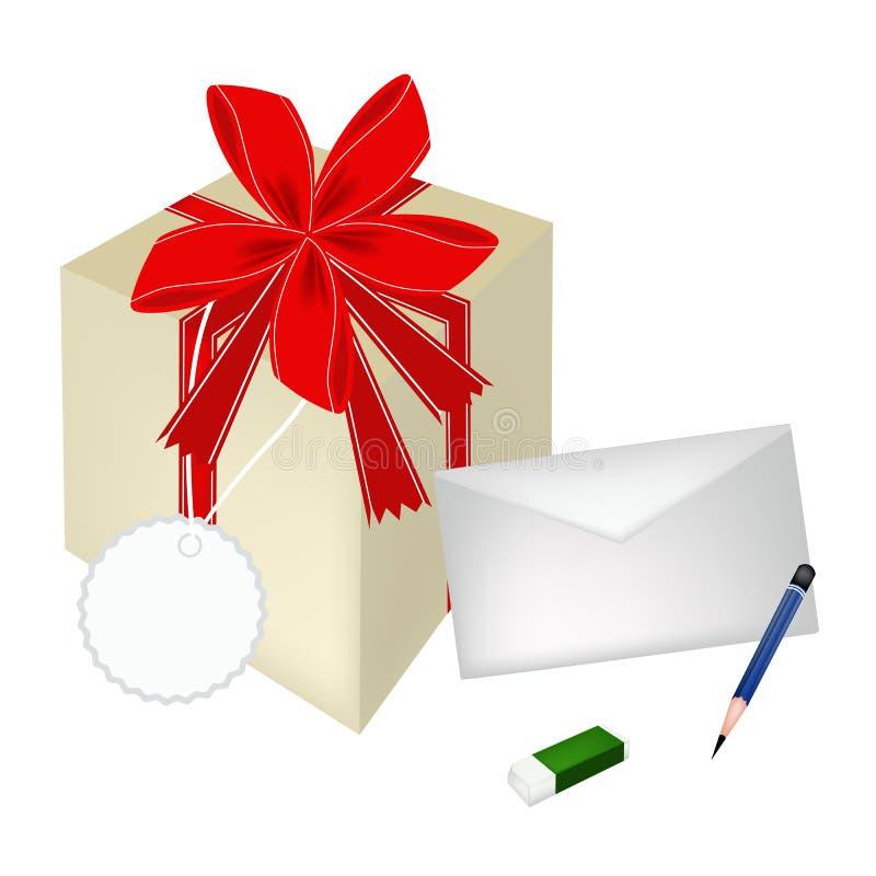 Uma caixa de presente bonita com envelope e cartão ilustração stock