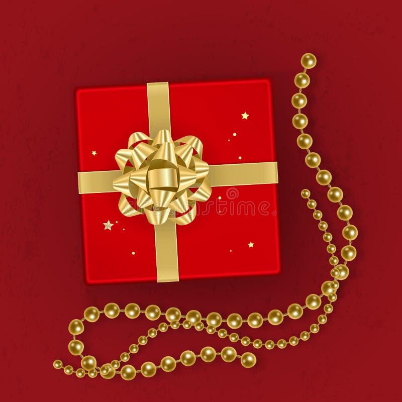 Uma caixa de presente vermelha realística decorada com uma curva do ouro, vista superior Ilustração do vetor ilustração stock