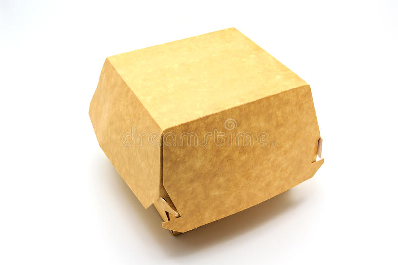 Uma caixa marrom do alimento, empacotando para o Hamburger, o almoço, o fast food, o hamburguer e o sanduíche, isolados no fundo  imagem de stock royalty free