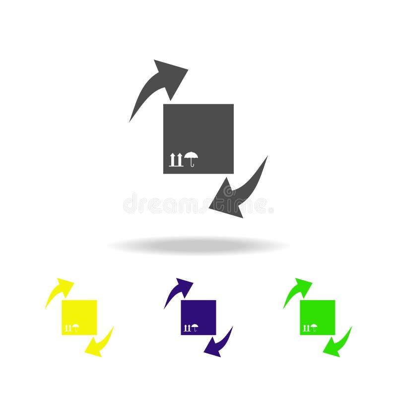uma caixa para pacotes e ícones coloridos das setas circulares Sinais e ícone para Web site, design web da coleção dos símbolos,  ilustração do vetor