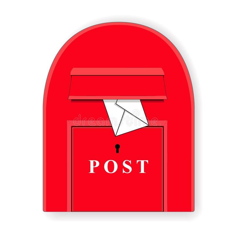 Uma caixa vermelha do cargo com uma letra mailbox Ilustração da caixa de letra Vetor ilustração stock