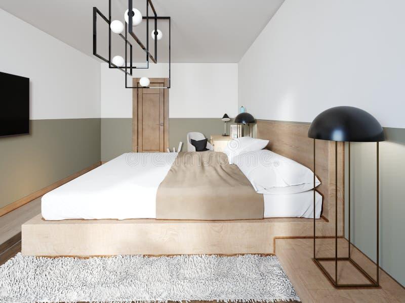 Uma cama de madeira moderna em uma passarela de madeira de duas fases com iluminação, um quarto em um estilo do sótão ilustração royalty free