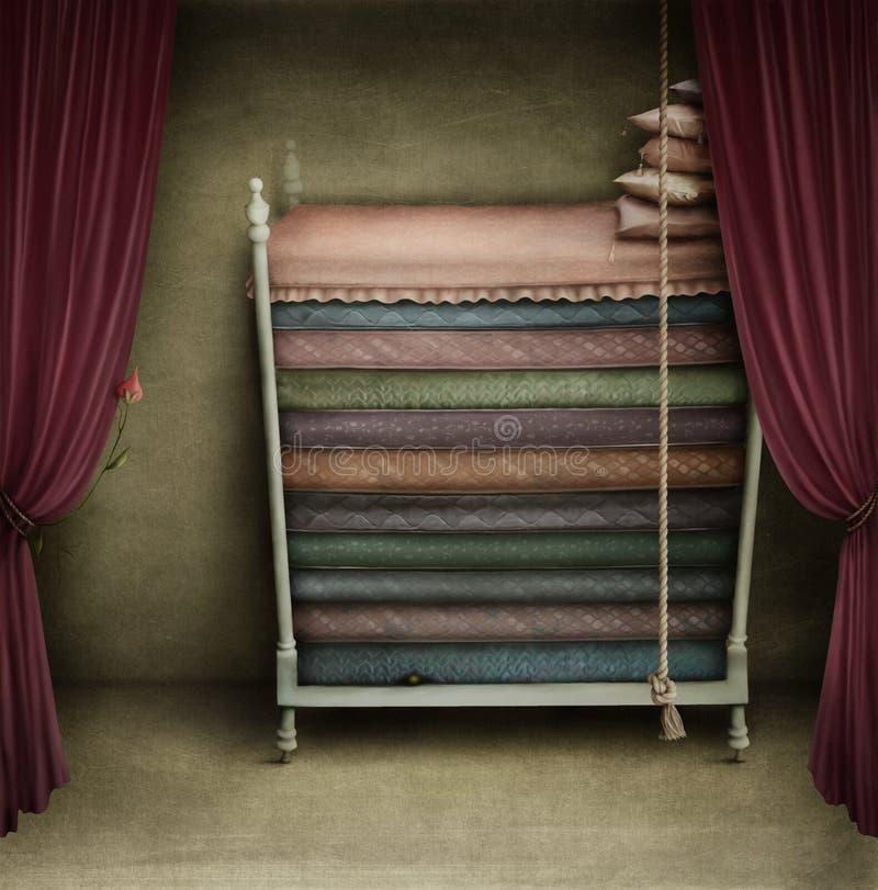 Uma cama para princesas ilustração royalty free