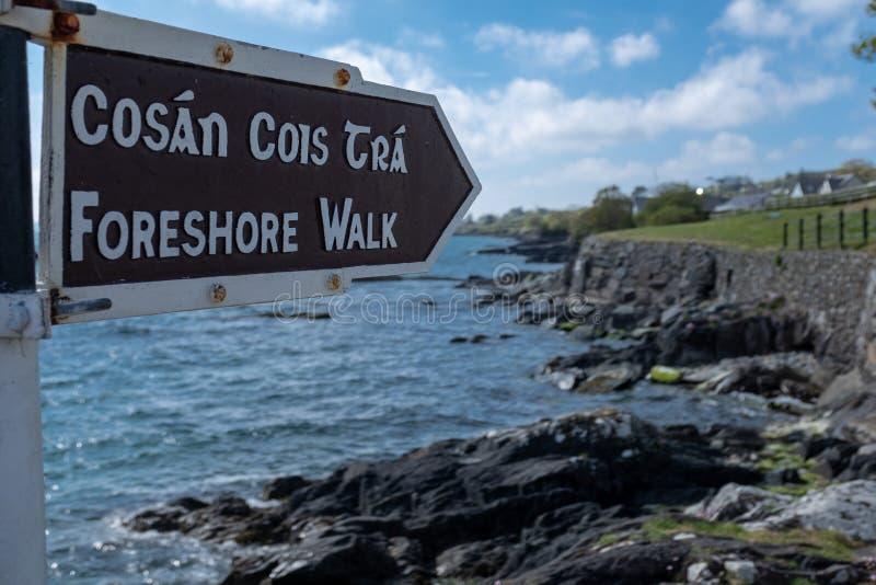 Uma caminhada do foreshore assina em inglês e em irlandês, apontando à caminhada ao longo do penhasco irregular com o Oceano Atlâ imagem de stock royalty free