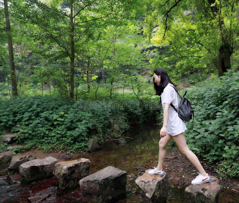 Uma caminhada feliz do curso da menina da beleza a pé através da floresta em movimentar-se da caminhada do campo imagem de stock