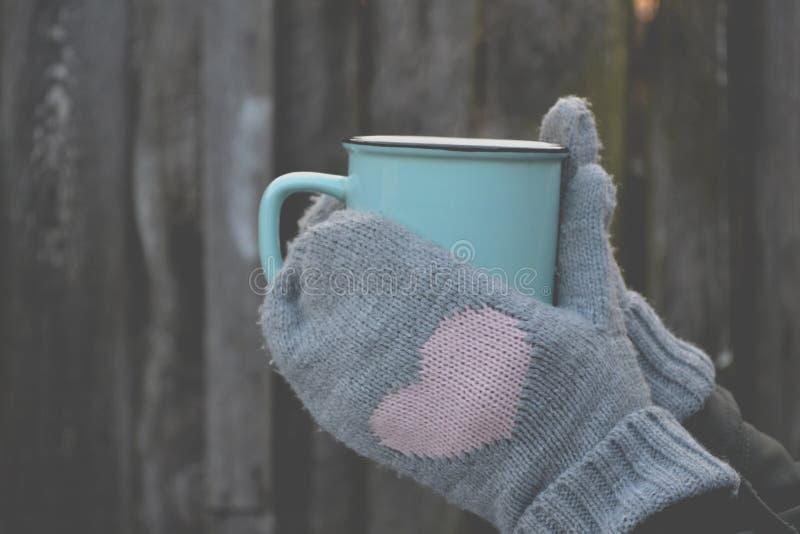 Uma caneca de chá no tempo frio fotos de stock