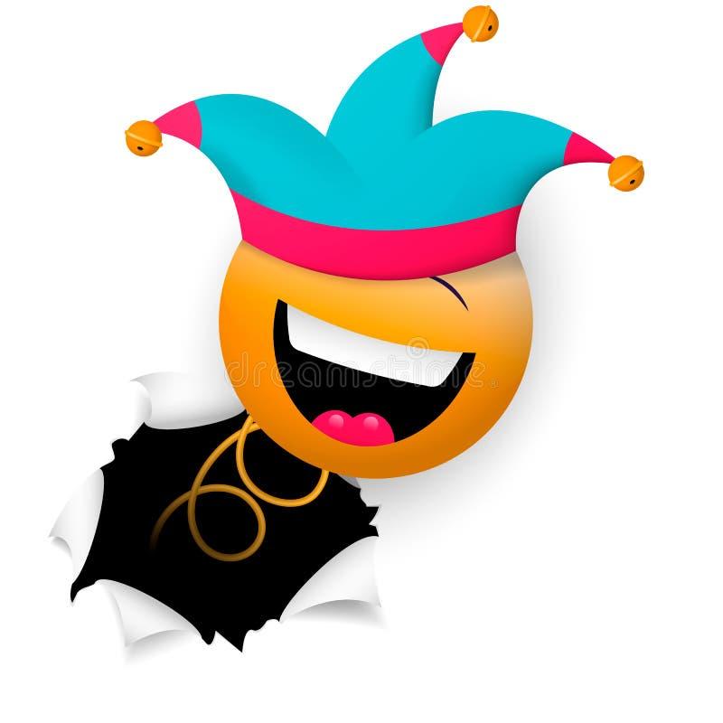 Uma cara de sorriso alegre, no tampão de um bobo da corte, de repente rupturas através da parede Dia feliz dos tolos ilustração stock