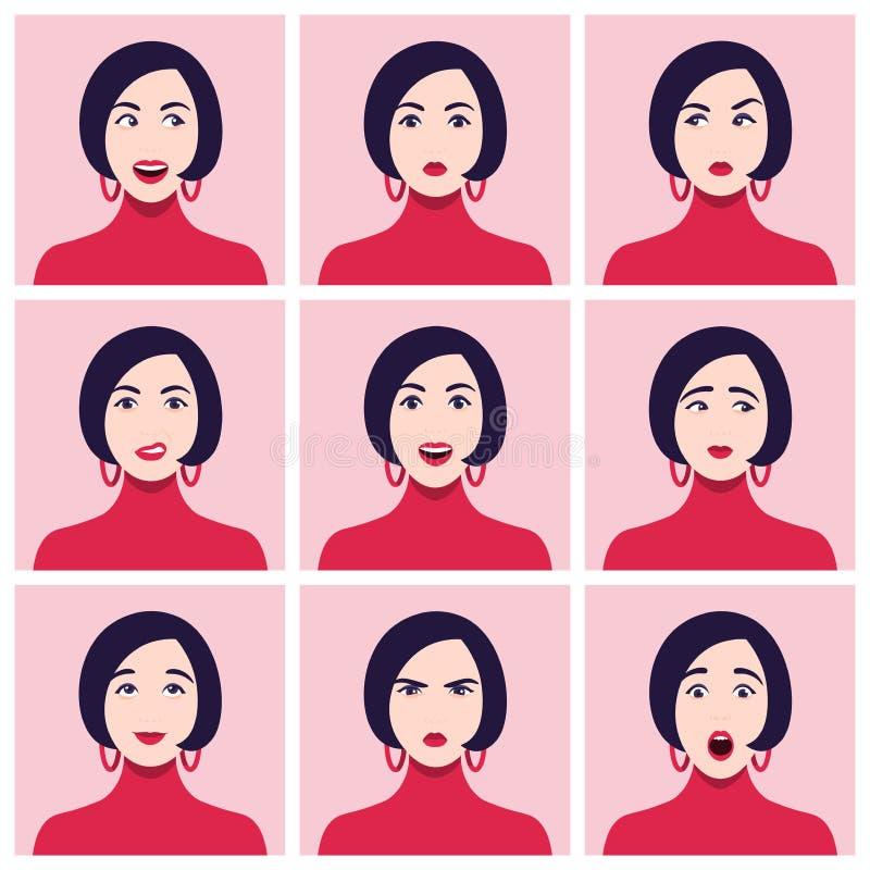 Uma cara do ` s da mulher Emoções e sentimentos diferentes Grupo de retratos ilustração do vetor