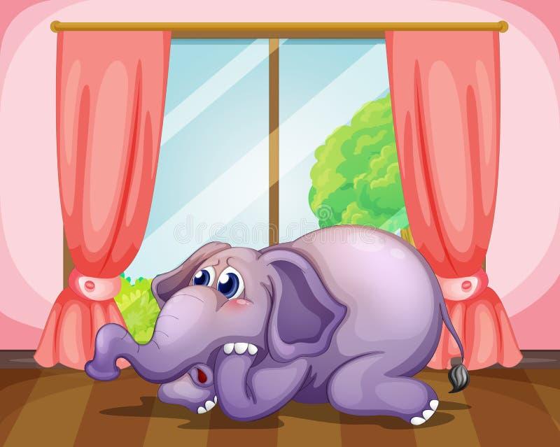 Uma cara preocupada de um elefante dentro da sala ilustração do vetor