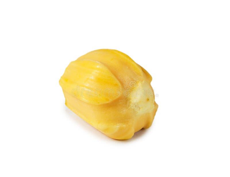 Uma carne deliciosa fresca do jackfruit isolada no branco limpo b imagens de stock