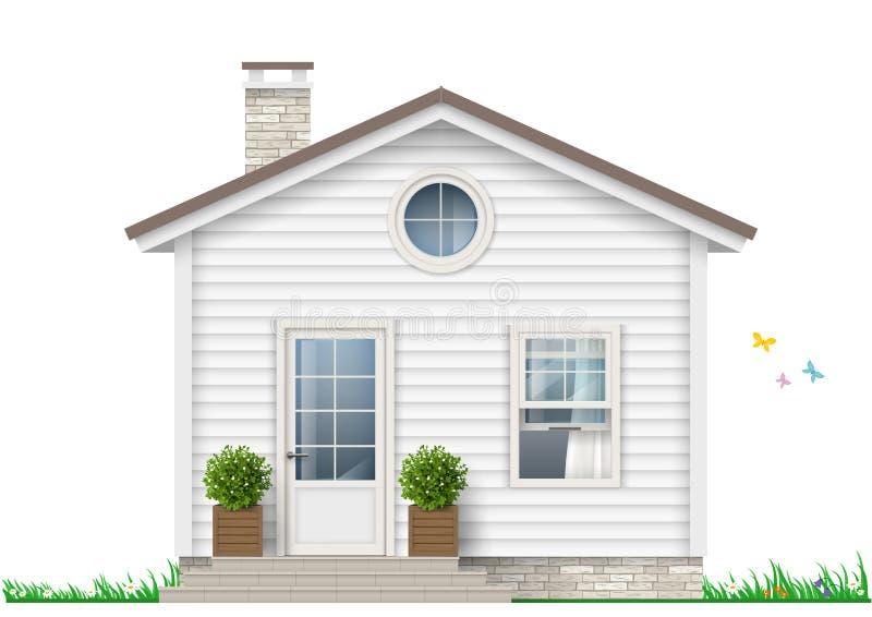 Uma casa branca pequena ilustração stock