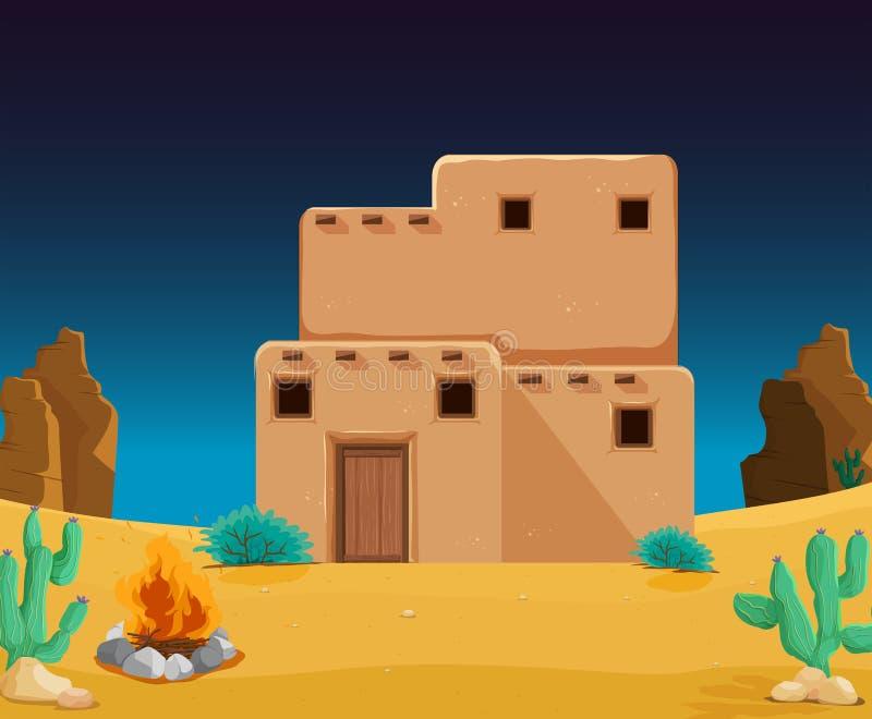 Uma casa de adôbe no deserto ilustração do vetor