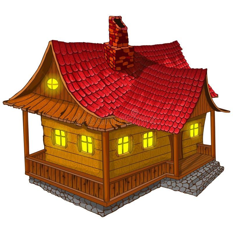 Uma casa de madeira fabulosa Ilustração do vetor ilustração stock