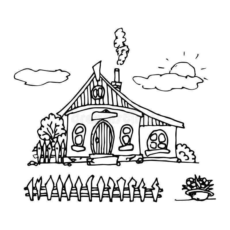 Uma casa desenhado ? m?o ajustada em um estilo bonito dos desenhos animados Casas velhas, constru??es da cidade Ilustra??o creati ilustração do vetor