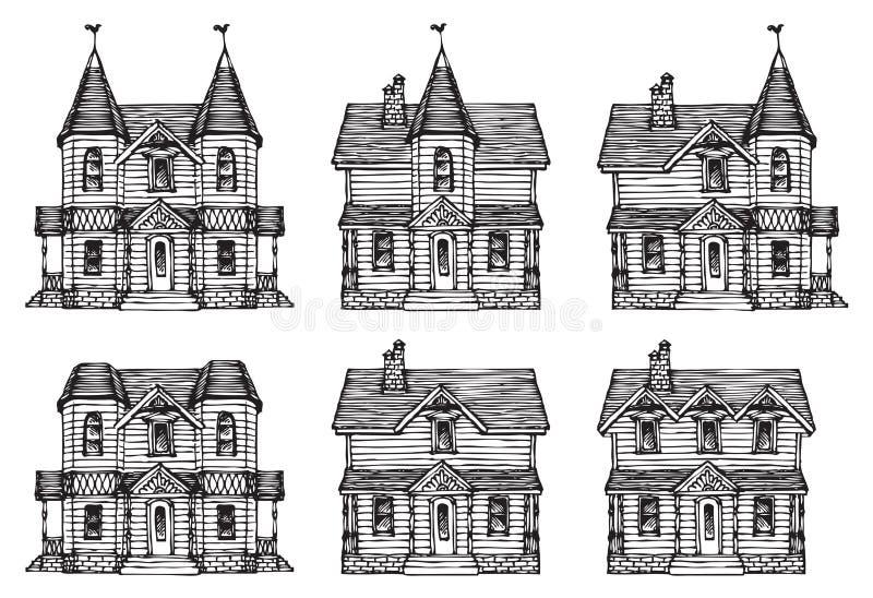 Uma casa desenhado ? m?o ajustada em um estilo bonito dos desenhos animados Esbo?o moderno colorido de uma constru??o Casas velha ilustração do vetor