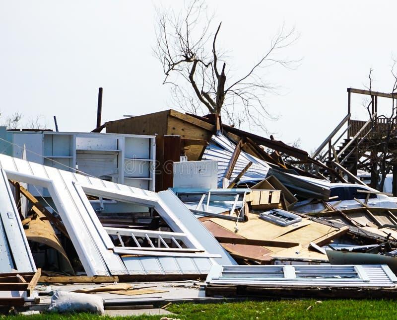 Uma casa destruída pelo furacão poderoso Harvey em Texas Coast imagens de stock