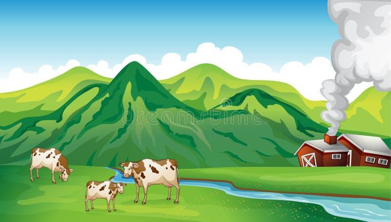 Uma casa e vacas da exploração agrícola ilustração stock