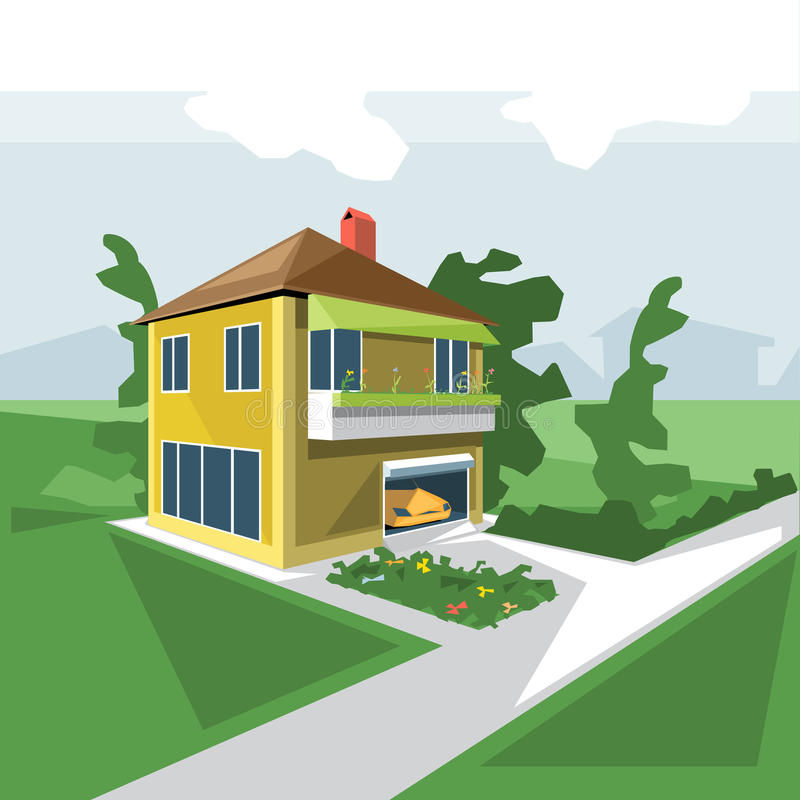 Uma casa em 2 assoalhos, vista da perspectiva ilustração stock
