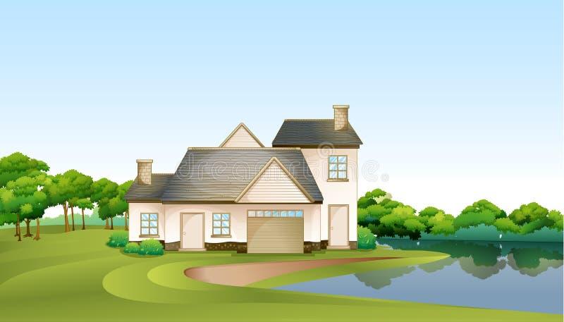 Uma casa grande na floresta perto do rio ilustração royalty free