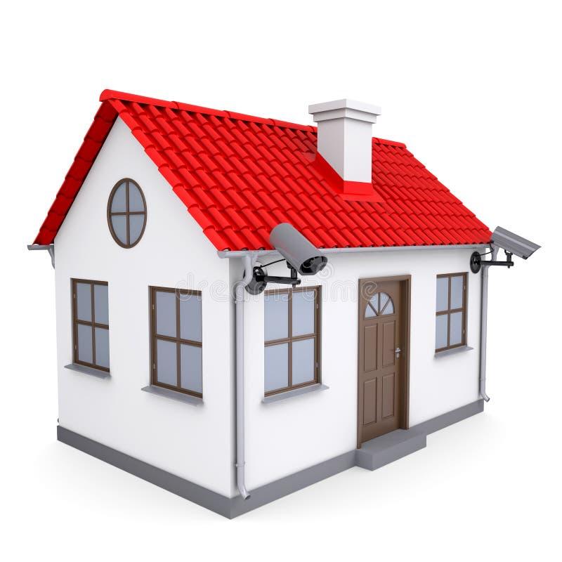 Uma casa pequena com câmaras de segurança ilustração stock