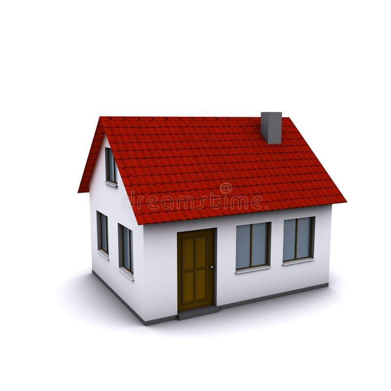 Uma casa pequena com telhado vermelho ilustração stock