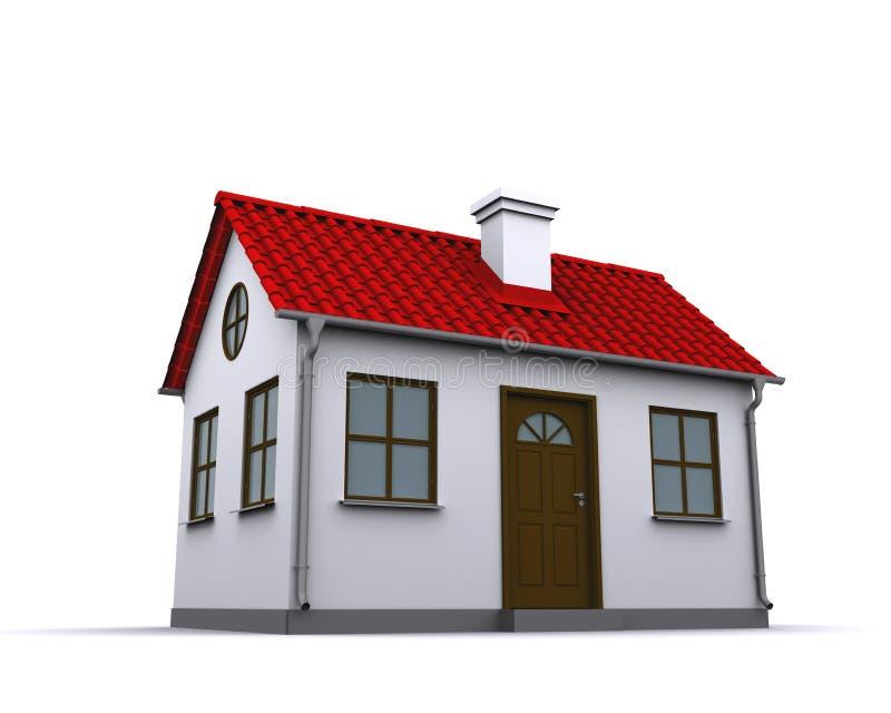 Uma casa pequena com telhado vermelho imagem de stock
