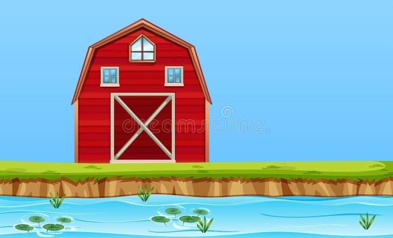 Uma casa rural do celeiro ilustração do vetor